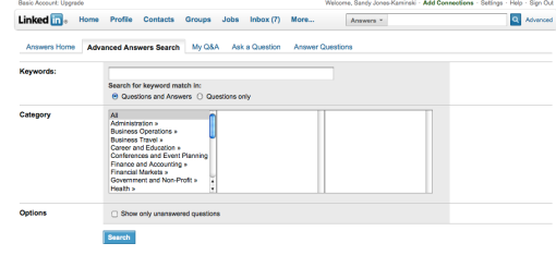 LinkedIn Answers Search box on BellaDomain.com